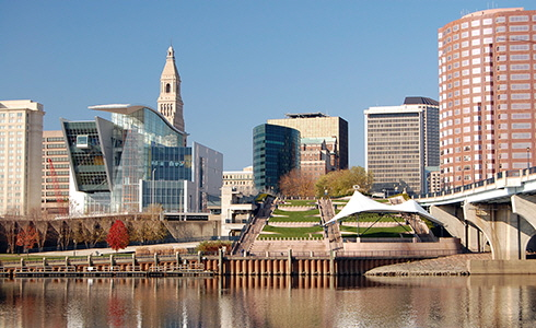 Hartford skyline on the Connecticut River